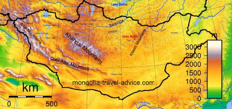 Mongolia mountains -Map of Mountains in Mongolia