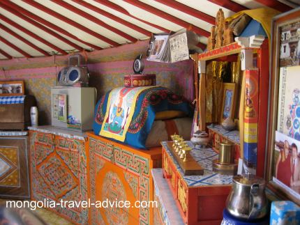 mongolian altar in yurt