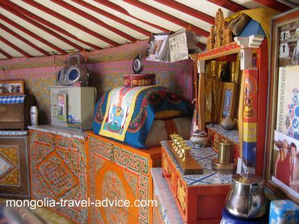 mongolian altar in yurt