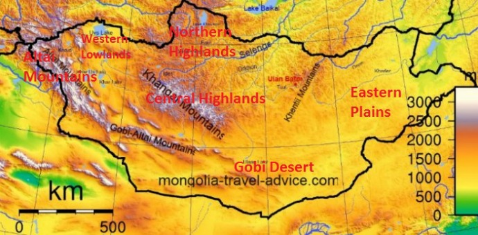 Mongolia Topography: Maps and overview