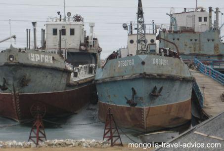 ships on lake Khovsgol, Mongolia