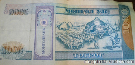 Money Mongolia- 1000 togrog