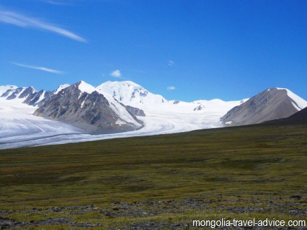 Pictures of Mongolia: glacier in the Altai Mountains