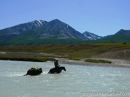 horse trek west mongolia river