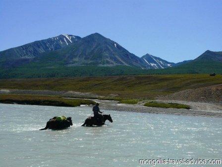 horse trek west mongolia river